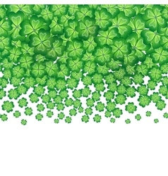 Green falling clovers isolated on white vector