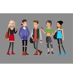 Cute people at the simple style with gadgets vector