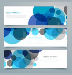 Blue circles banners and headers set vector