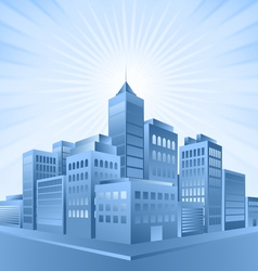 blue city sunrise vector image