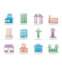 Buildings and city icon vector