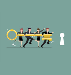 business team holding golden key to unlock the vector image vector image