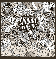 cartoon hand-drawn doodles italian food vector image