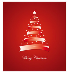 Christmas card with stylized white and red tree vector