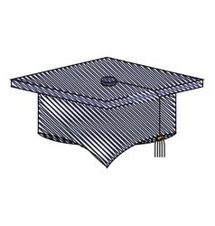 color crayon stripe image of graduation cap vector image vector image
