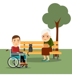 Disabled man on wheelchair in park vector image vector image