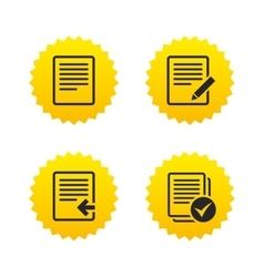 Document icons Upload file and checkbox vector image