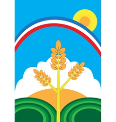 Ear of corn field rainbow sun vector image vector image