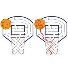 Easy basketball maze vector