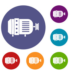 Electric motor icons set vector
