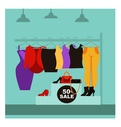 fashion clothing shop or woman dress boutique sale vector image