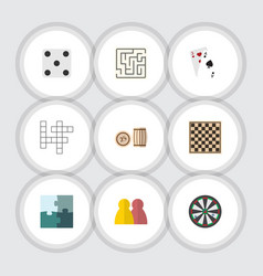 Flat icon play set of labyrinth jigsaw people vector