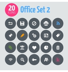 Flat minimalistic office 2 icons on dark gray vector image vector image