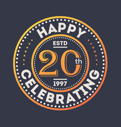 Happy 20th years anniversary celebration sticker vector