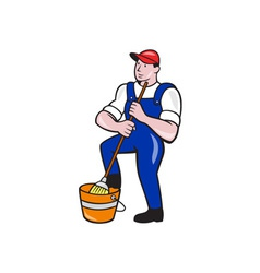 Janitor Cleaner Holding Mop Bucket Cartoon vector image vector image