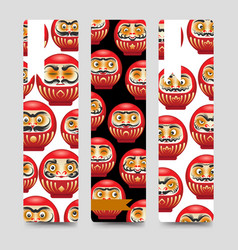 Japanese daruma dolls bookmarks vector