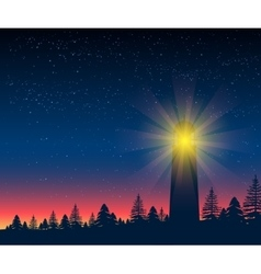 Landscape with silhouette of lighthouse at night vector