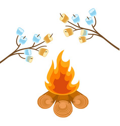 Marshmallow on tree branches cooked on bonfire vector