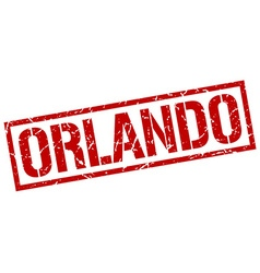 Orlando red square stamp vector image vector image