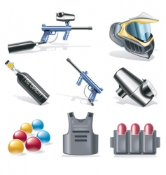 paintball icon set vector image
