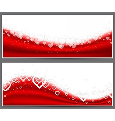 Red heart headers vector image vector image