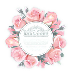 Rose wreath template for wedding vector