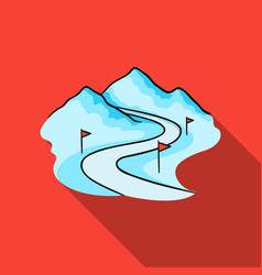 Ski track icon in flate style isolated on white vector