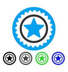 Star medal seal flat icon vector
