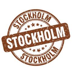Stockholm brown grunge round vintage rubber stamp vector
