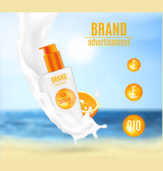 Sunscreen milk with citrus extract vector