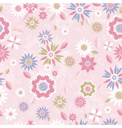 texture of many different flowers on pink backgrou vector image