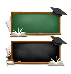 Two banners of chalkboards with school supplies vector
