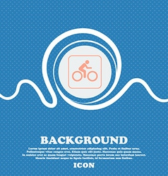 Cyclist sign Blue and white abstract background vector image