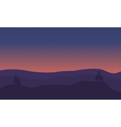 Silhouette of hill scenery at sunset vector