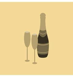 flat on background of Champagne vector image