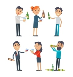 Drunk people with alcohol flat set vector