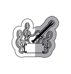 emblem electric guitar with music symbol icon vector image