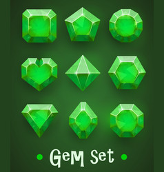 Set of realistic green gems of various shapes vector