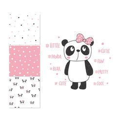 Cute little panda surface design and 3 seamless vector