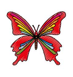 Scribble butterfly cartoon vector