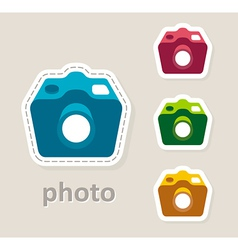 Photo camera lens icon vector