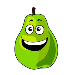 Fresh happy laughing green cartoon pear fruit vector