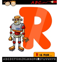 letter r with robot cartoon vector image