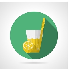 Flat color icon for glass of lemonade vector