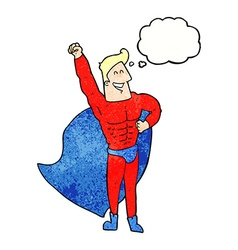 Cartoon superhero with thought bubble vector