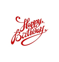 Happy birthday lettering calligraphy red card vector