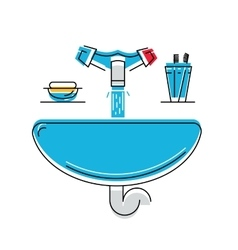 Bathroom sink with soap and toothbrushes line vector