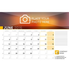 Desk calendar for 2016 year june design print vector