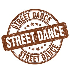 Street dance brown grunge round vintage rubber vector