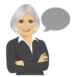 Senior businesswoman with blank speech bubble vector